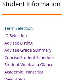 Graphic showing Student Information for Advisors list.