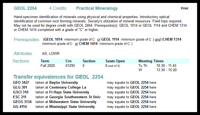 Screenshot showing how to determine what courses a student will need to take.