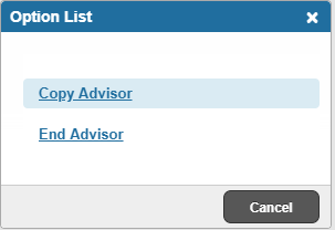 Graphic showing Copy Advisor and End Advisor options.