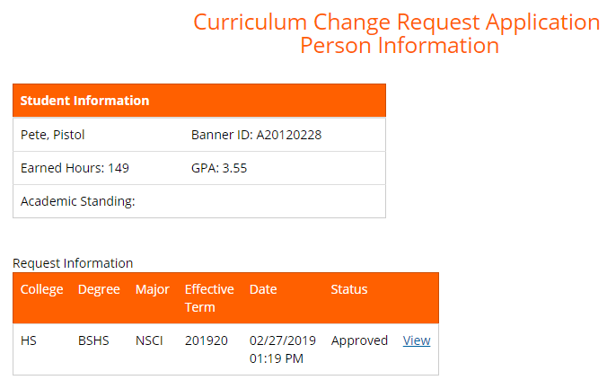 Template showing curriculum change request application for a fictional student
