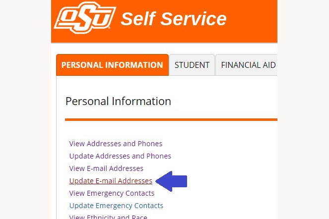 Shows update email addresses location in Self-Service