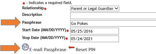 Graphic showing location of Passphrase tab and Email Passphrase link.