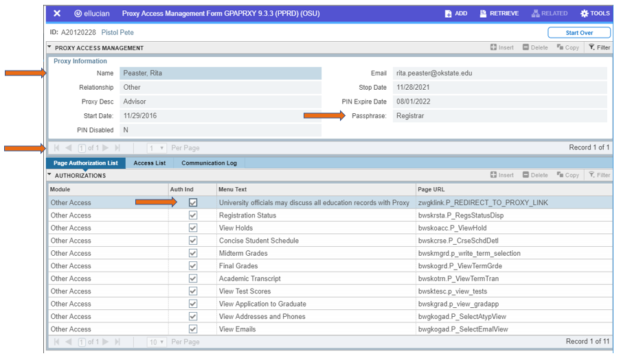 Graphic showing Proxy Access Management Form in Banner.